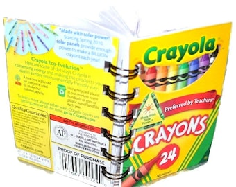 3 Recycled Mini Crayon Spiral Bound Notebook.