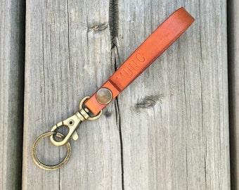 Veg Tan Leather Antique Brass Key Chain