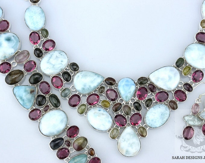 RUBELLITE TOURMALINE LARIMAR 925 Solid Sterling Silver Necklace Set 131