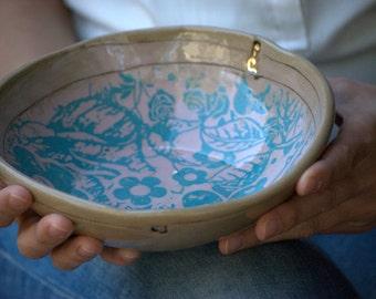 Decorative ceramic bowl, Serving bowl, Floral pottery bowl, housewarming gift, pasta bowl, salad bowl, handmade pottery ,Anniversary gift