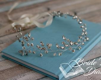 Rhinestones Crystals Bridal Wreath, bohemian headband , wedding hair vine