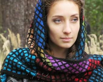 "Knit shawl - boho knitted shawl - wool shawl - hand knit shawl - handmade knit shawl -  hand knitted shawls - knitted shawl ""Majolica"""