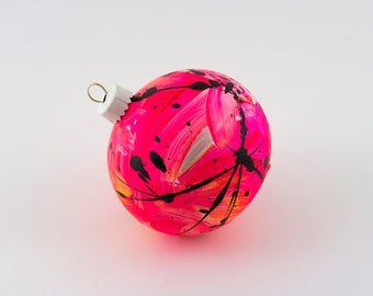 Hand Painted Bauble // Christmas Decoration // Neon Pink and Yellow Limited Edition // God Colours Collection // Ceramic Ornament