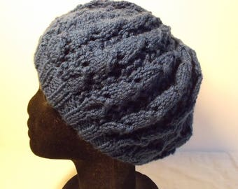 Kind Ultramarine lace stitch knit slouch Hat