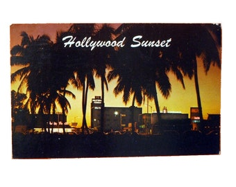"Vintage Scenic Tropical Florida 3.5"" x 5.5"" Glossy Postcard - Hollywood Sunset - 1971"