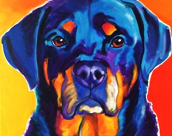 Rottweiler, Pet Portrait, DawgArt, Dog Art, Rottweiler Art, Pet Portrait Artist, Colorful Pet Portrait, Art, Art Prints, Rottie Art