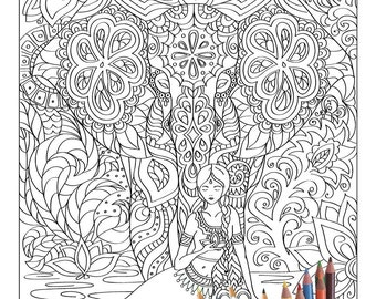 Poster coloring book for adults Firebird. Black