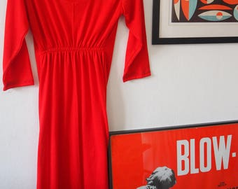 The Explorer, Red maxi dress empire waist, Travel dress