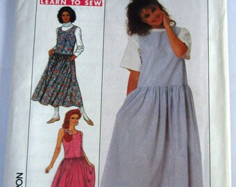 Easy Sew Misses Jumper, Loose-fitting, Pullover, Side Seam Pockets Sizes 16 18 20 Learn to Sew Vintage 1980s Simplicity Pattern 9475 UNCUT