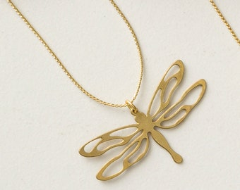 """Simple Elegant Dragonfly Necklace Pendant, Raw Brass, on Thin Minimalist 20"""" Gold Plated Chain"""