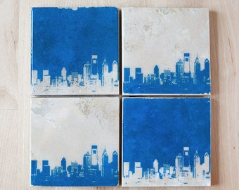 Philadelphia Skyline Coaster Set (4 Stone Coasters, Blue & White) Philly Cityscape Home Decor