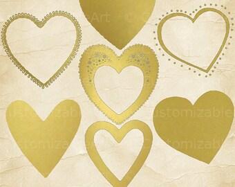 Gold Heart Clipart Gold Hearts Clip Art Golden Heart Frames Gold Heart Border Clipart Gold Heart Digital Elegant Printable Gold Hearts