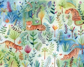 Tigers in the Jungle | Art Print | Wall Art | Kid's Room Decor | Children's Illustration