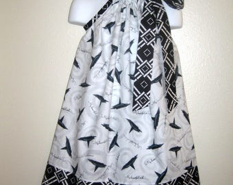 Wizard of Oz Witch Hat in Black in White Pillowcase dress in sizes 6M to  8Y
