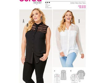 Burda Style Sewing Pattern 6551,  Misses Sheer Blouse, Ladies Button Up Top, Plus Sized Blouse, New Uncut