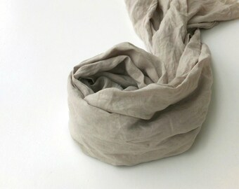 light grey linen scarf - extra long large wrap shawl