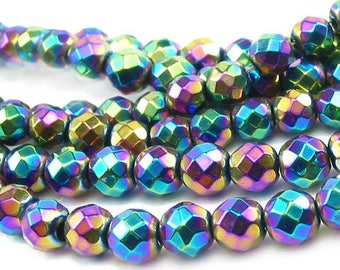 4 BEADS IS FACETED HEMATITE 8MM RAINBOW COLORS.