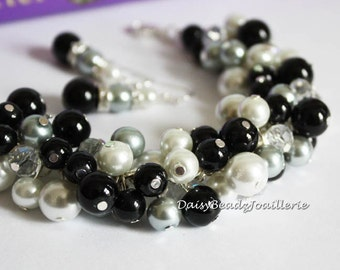 Christmas Jewelry Pearl Cluster Bracelet Black Bracelet Grey Bracelet White Bracelet Bridesmaid Jewelry on a Budget Maid of Honor Gift Idea