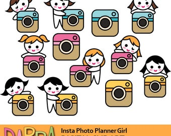 Social media clipart, girl with photo camera, clipart planner girl / plan sticker printable clip art commercial use