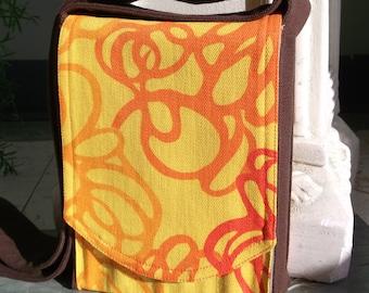 Orange Swirl Mini Messenger Bag