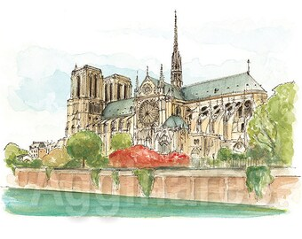 Paris France Notre Dame / art print from an original watercolor painting