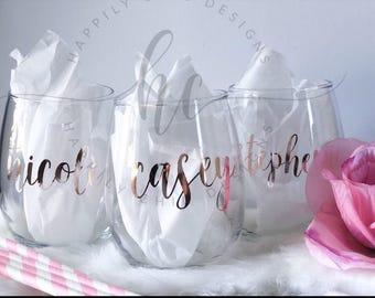 bridesmaid wine glass- bridesmaid proposal wine glass- bridesmaid gift ideas- personalized wine glass- rose gold wine glass- rose gold bride