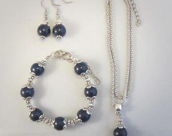 Tibetan Silver jewelry Set Lapis Lazuli Gemstone bracelet, earrings, pendant