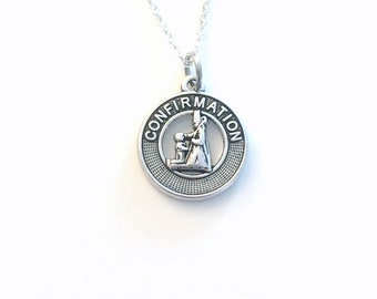 Confirmation Medallion Necklace, Religious Jewelry, Silver Charm, Personalized Gift for Teenager Girl Teenage Daughter Niece son Nephew Boy