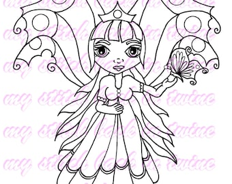 Digital stamp colouring image - Butterfly queen Darcee . jpeg / png