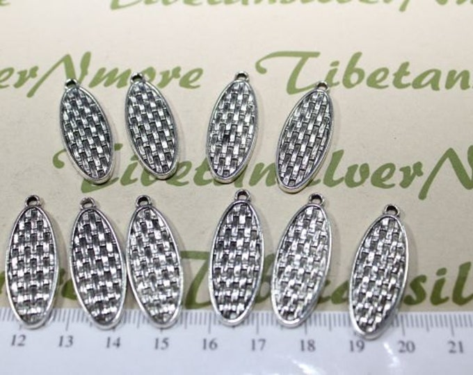 12 pieces a pack of 30x10mm reversible Long Braided Leaves Charms Antique Silver Lead Free Pewter
