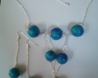 Ornament pendant and earrings in blue polymer clay beads