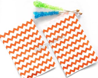 Chevron Favor Bags | ORANGE CHEVRON Favor Bags (5x7) | Boy Birthday Party | Halloween Favor Bags | Orange and Blue Birthday | Orange Wedding