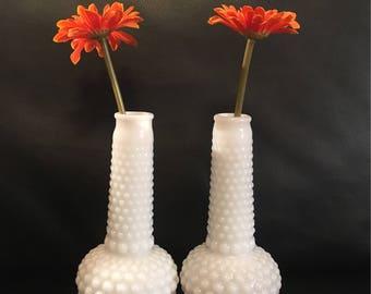 Vintage White Milk Glass Bud Vase Hobnail Bulbous Base