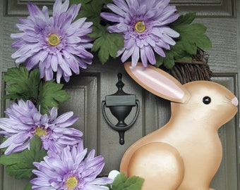 purple, Gerber, daisies, springtime, bunny, wreath, Easter