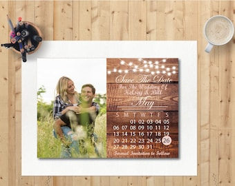 Save the date dark wood, Rustic wedding save the date. Template or Printed