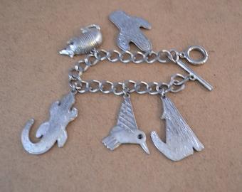 JJ Southwest Pewter Silver Tone Bracelet With Five Charms