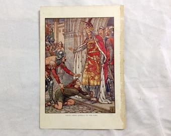 Walter Crane  Art 1911 Knights of Round Table Young Owen Appeals to the King Color Print