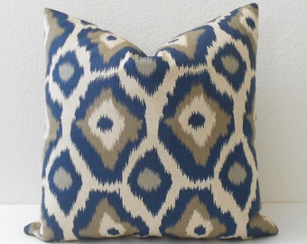 Both sides, Navy blue and gray ikat dots decorative throw pillow cover