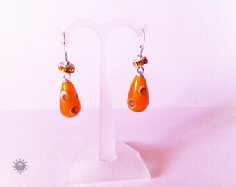 Indian bead has orange aventurine