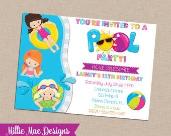 Custom Pool Party Invitation - Birthday - Pool Party
