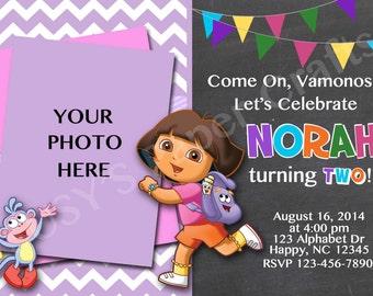 Dora the Explorer Photo Birthday Invitation, Digital File, You Print