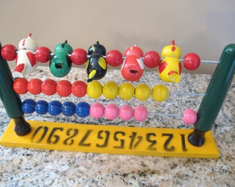 Vintage Wood Abacus Bird Counting Toy