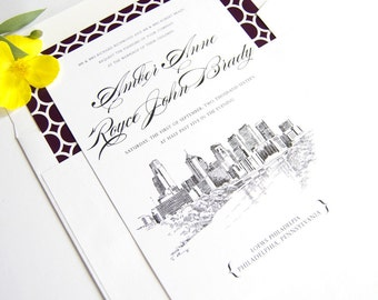 Philadelphia Skyline Wedding Invitation, Philadelphia Wedding, Philadelphia Invite  (Sold in Sets of 10 Invitations, RSVP Cards + Envelopes)