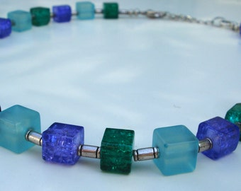 Emerald Green Purple and Turquois Necklace - Cubes - Spacers - Fashion Jewelry - Nickel-Free - Glass - Acrylic Beads - Summer Necklace