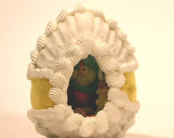 Large Upright Sugar Panoramic Easter Egg with Yellow Ribbon