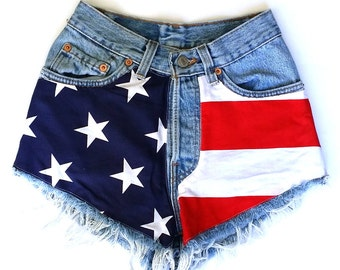 Levis Vintage High Waisted Cut off Jean Shorts American Flag Patched Shorts, Patriotic 4th of July, Stars and Stripes, Team USA Shorts