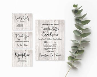 Rustic Wedding Suite- Wedding Invitation Printable-Wedding Invitation Template Download- Printable Wedding Invitation Suite-Wedding Template