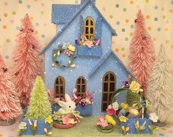 Easter House Putz Cottage(Large)Glitterhouse. in Sky Blue with Chick & Bunny