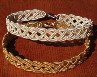 Guitar String Bracelet or Anklet, Gold or Silver Double Braid