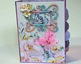 Handmade Scrapbook Photo Mini Photo Album - Pastel Garden Flowers - Love - Ready to Ship, Places to Hold over 50 Family Photos